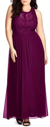 City Chic Plus Paneled Bodice Maxi Dress