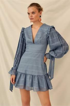 Keepsake CHARMER LONG SLEEVE MINI DRESS steel blue