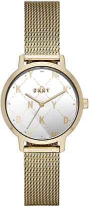 DKNY Women Modernist Gold-Tone Stainless Steel Mesh Bracelet Watch 32mm