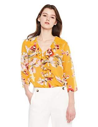 5535b6842498a Beautiful Nomad Women Chiffon Romantic Blouse Top with Floral Print and  Ruffle Neck Trim