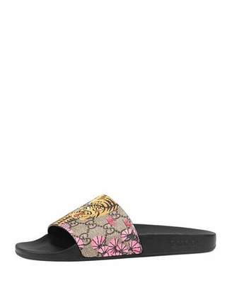 Gucci Pursuit Bengal-Print Canvas Sandal, Black $290 thestylecure.com