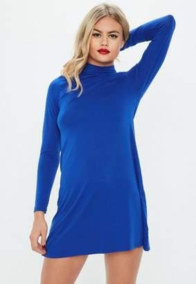 Missguided Blue Roll Neck Long Sleeve Swing Dress, Blue