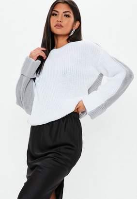 Missguided Gray Colorblock Splice Crew Neck Sweater