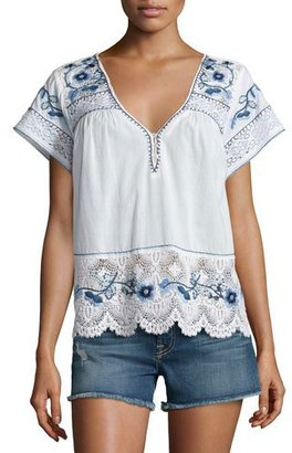 Calypso St Barth Kerala Lace-Inset Embroidered Top, White $375 thestylecure.com
