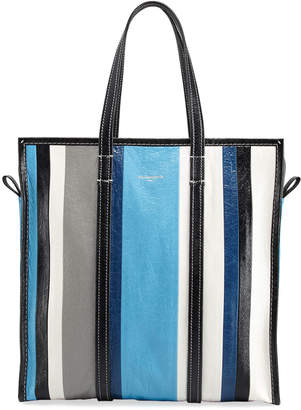 Balenciaga Bazar Medium Striped Leather Shopper Tote Bag