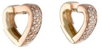 18K Diamond Heart Hoop Earrings
