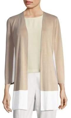 Eileen Fisher Color Block Open Front Cardigan