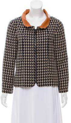 Chanel Leather-Accented Patterned Jacket