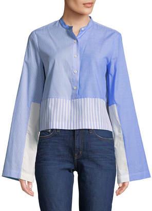 Derek Lam 10 Crosby Collarless Cropped Shirt