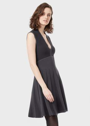 Emporio Armani Dress With Flared Skirt And Jacquard Inserts