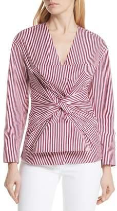 Diane von Furstenberg Stripe Bow Front Blouse