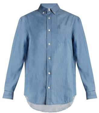 Frame Raw Hem Denim Shirt - Womens - Blue
