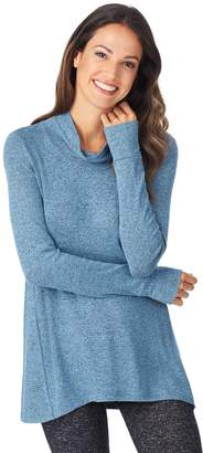 Cuddl Duds Women's Soft Knit Long Sleeve Cowl Neck Top