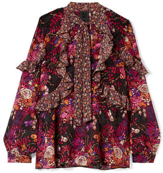 Anna Sui Woman Velvet-paneled Fil Coupé Printed Silk-blend Georgette Blouse Magenta Size 8 Anna Sui Excellent Manchester For Sale Clearance Cheap Online Free Shipping Nicekicks sjvhHo9Akq