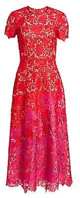 Theia Women's Ombré Lace Short-Sleeve Tea-Length Dress