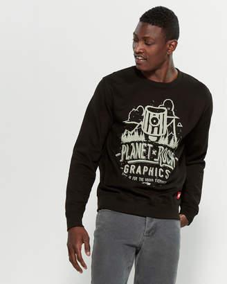 Planet Rock Graphics Black Graphic Fleece Sweatshirt