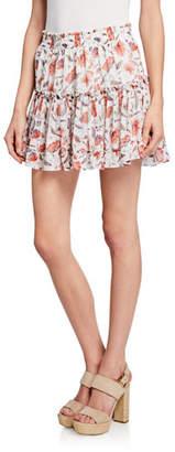 MISA Los Angeles Kahlo Floral Ruffle Mini Skirt