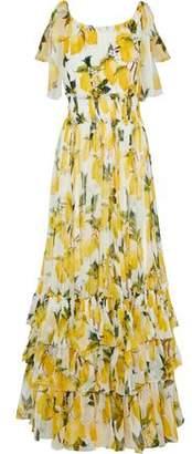 Dolce & Gabbana Tiered Printed Silk-Chiffon Gown