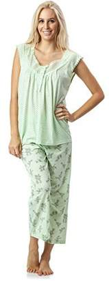Casual Nights Women's Lace Sleeveles Capri Shorts Pajama Set
