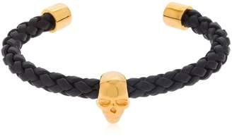 Skull Braided Leather Cuff Bracelet