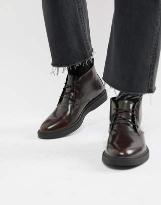 Zign Shoes desert boots in burgundy high shine