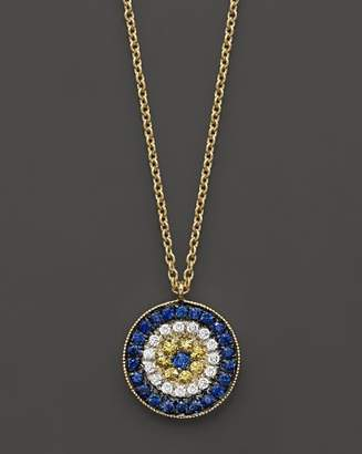 "Meira T 14K Yellow Gold/Diamond ""Evil Eye"" Necklace, 16"""