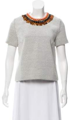 Mother of Pearl Embellished Short Sleeve Top