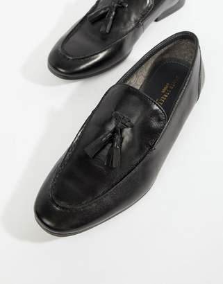 Silver Street High Shine Tassel Loafer in Black