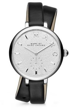 Marc by Marc Jacobs Sally Floral Stainless Steel & Leather Double-Wrap Watch $225 thestylecure.com