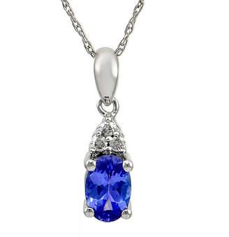 FINE JEWELRY LIMITED QUANTITIES Genuine Purple Tanzanite & Diamond Accent 14K White Gold Pendant Necklace