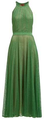 Missoni Halterneck Lame Crochet Knit Dress - Womens - Green