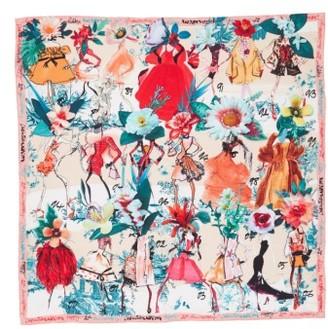 Women's Christian Lacroix Les Filles En Fleur Square Silk Scarf $245 thestylecure.com