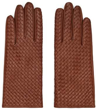 Reiss MILLY LEATHER WOVEN GLOVES Tobacco