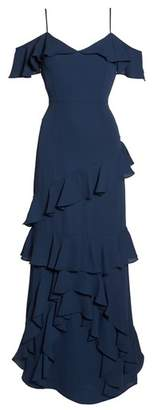 WAYF Danielle Off the Shoulder Tiered Crepe Dress