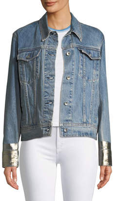 Rag & Bone Oversized Denim Jacket w/ Metallic Cuffs