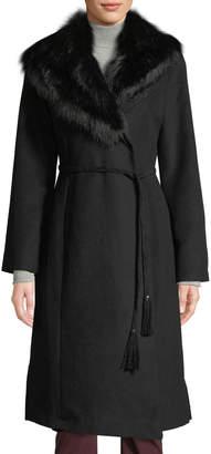 Via Spiga Faux-Fur Collar Wrap Coat