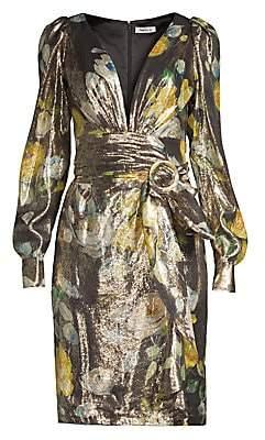 Flor et. al Women's Maiden Belted Metallic Floral Wrap Dress - Size 0