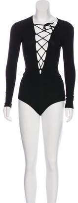 Reformation Rib Knit Lace-Up Bodysuit