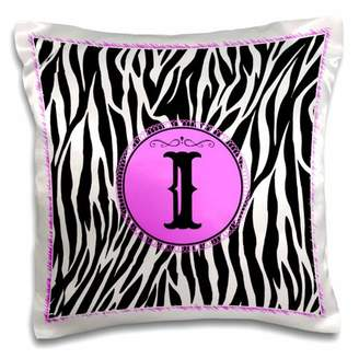 3dRose Monogram with I initial Zebra print and Hot Pink design, Pillow Case, 16 by 16-inch