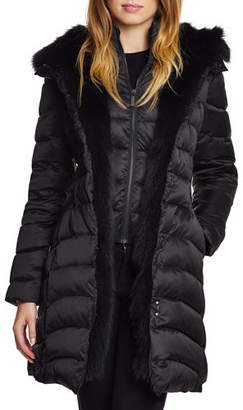 Dawn Levy Jet Setter Fox-Fur Trim Fitted Puffer Jacket