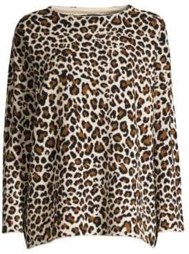 Max Mara Ornato Leopard Virgin Wool Sweater