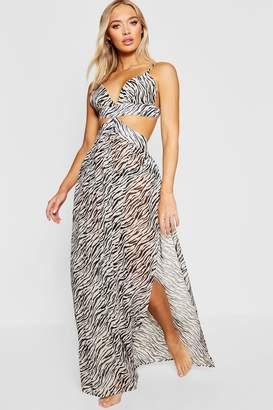 boohoo Zebra Cut Out Maxi Beach Dress