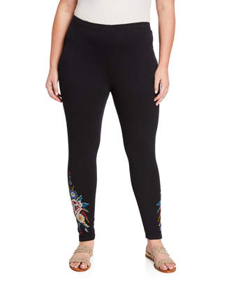 Johnny Was Plus Plus Size Darielle Leggings with Floral Embroidery