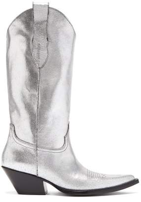 Maison Margiela Western Leather Boots - Womens - Silver
