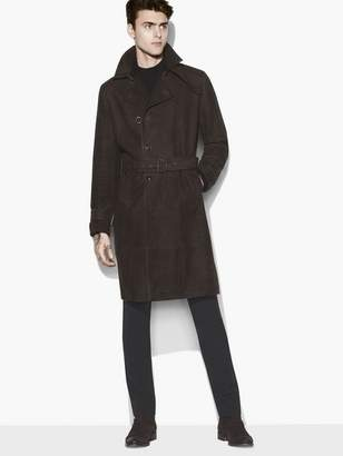 John Varvatos Suede Trench Coat