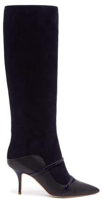 Malone Souliers By Roy Luwolt - Madison Knee High Suede Boots - Womens - Navy