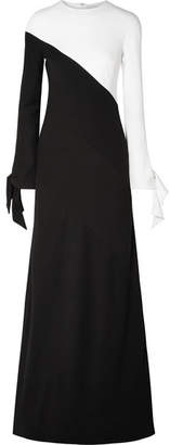 Carolina Herrera Two-tone Crepe Gown - Black