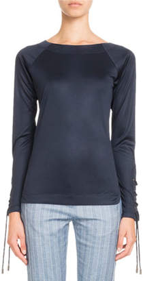 Pascal Millet Long-Sleeve Lace-Up Fitted Jersey Top