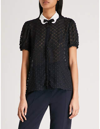 Claudie Pierlot Peter Pan-collar floral-embroidered blouse