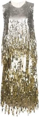 Oscar de la Renta sleeveless sequin fringe dress